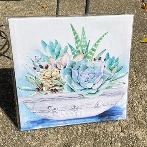 """2/$15 Canvas Print Modern Succulent Art 8""""x8"""""""